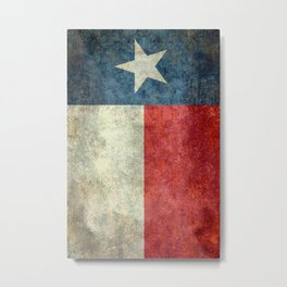 Texas flag, Retro style Vertical Banner Metal Print