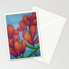 Botanical Painting with Reds and Blues Stationery Cards