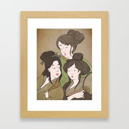 Japanese Prints Inspired - Painting of The Three Muses Framed Art Print