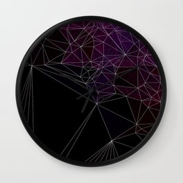 Polygonal purple, black and white Wall Clock