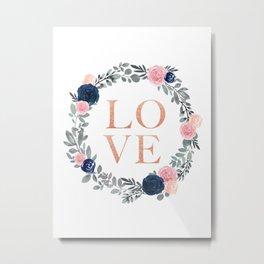 Love Floral Wreath Metal Print