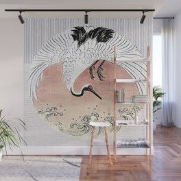 Crane and Wave Wall Mural