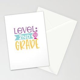 Level Nd Grade - Funny School humor - Cute typography - Lovely kid quotes illustration Stationery Cards