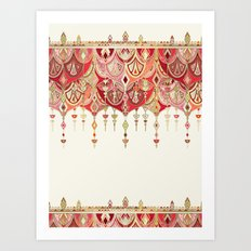 Royal Red Art Deco Double Drop Art Print