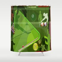 pool Shower Curtains featuring Pool by Robin Curtiss