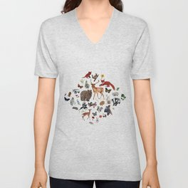Wild Woodland Animals Unisex V-Neck
