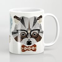 nerd Mugs featuring raccoon nerd by Manoou