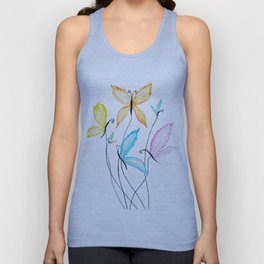 colorful flying butterflies Unisex Tank Top