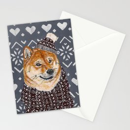 Shiba Inu in a  Hat and Scarf Stationery Cards