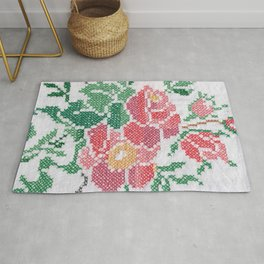 Flower cross stitch all over Rug