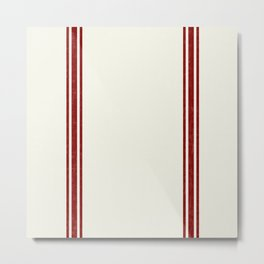 Vintage Country French Grainsack Red Stripes Creme Background Metal Print