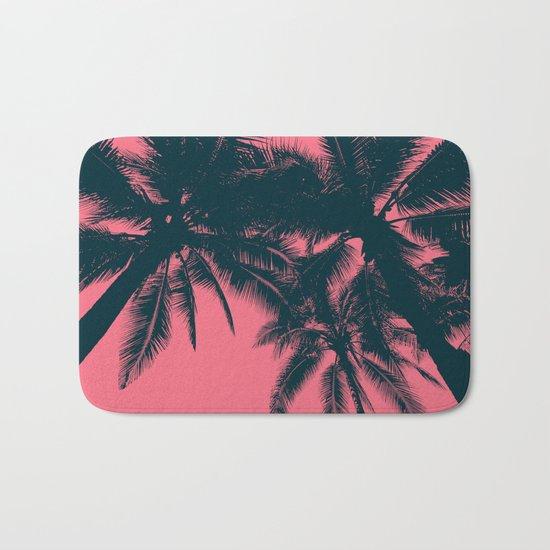Pink palms in summer Bath Mat
