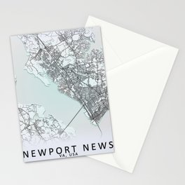 Newport News, VA, USA, White, City, Map Stationery Cards