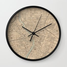 Vintage Map of Rochester NY (1895) Wall Clock
