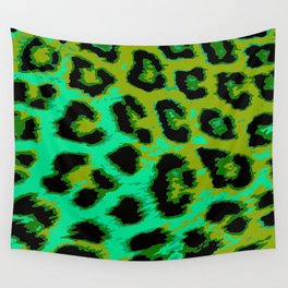 Aqua and Apple Green Leopard Spots Wall Tapestry