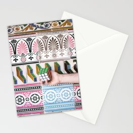 Cube against the tiles Stationery Cards
