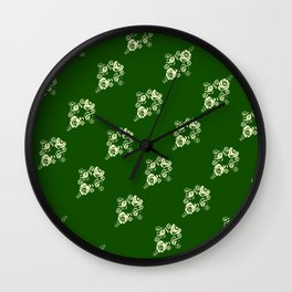 Canalflowers on green pattern Wall Clock