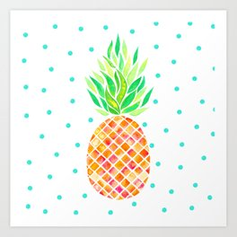 Tangerine Pineapple Art Print