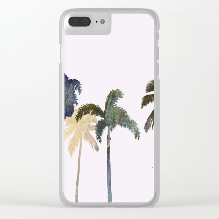 Palm trees watercolor Clear iPhone Case