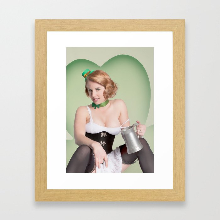 """""""Luck of the Irish"""" - The Playful Pinup - St. Patrick's Day Pinup Girl by Maxwell H. Johnson Framed Art Print"""