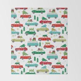 Christmas holiday vintage cars classic festive christmas tree snowflakes winter season Throw Blanket