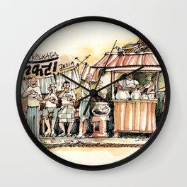 Kolkata India Sketch in Watercolor | City View | Street Food Stall | Calcutta West Bengal Wall Clock