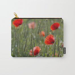 Red Poppy Flowers on green meadow Carry-All Pouch
