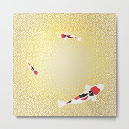 Colored carp with the Japanese pattern (cloud arabesque) Gold and pearl colors Metal Print