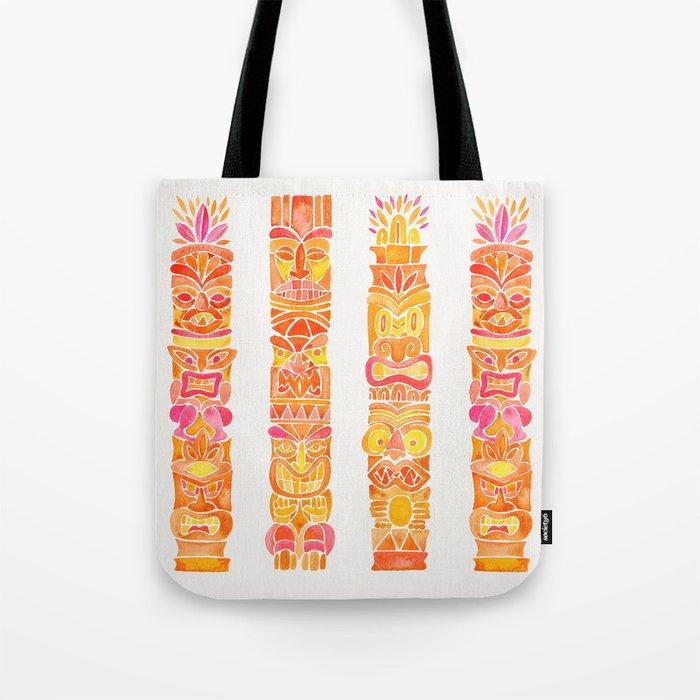 Tiki Totems – Orange Ombré Tote Bag