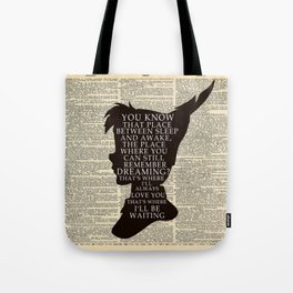 Peter Pan Over Vintage Dictionary Page - That Place Tote Bag