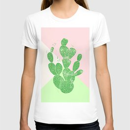 Linocut Cactus Tricolori T-shirt