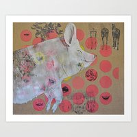 pig Art Prints featuring pig by ferzan aktas