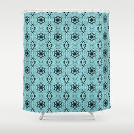 Island Paradise Floral Geometric Pattern Shower Curtain