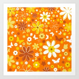 Flowers And Butterflies On Orange Background Art Print