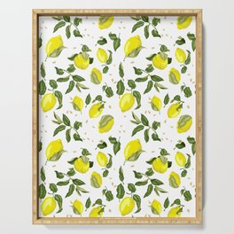 Citrus lemon with seeds and leaves pattern Serving Tray