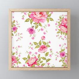 pink floral pattern Framed Mini Art Print
