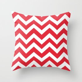 Rose madder - red color - Zigzag Chevron Pattern Throw Pillow