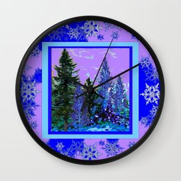 BLUE-LILAC WINTER SNOWFLAKE CRYSTALS FOREST ART DESIGN Wall Clock