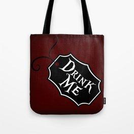 """Drink Me"" Alice in Wonderland styled Bottle Tag Design in 'Tulgey Wood Brown' Tote Bag"