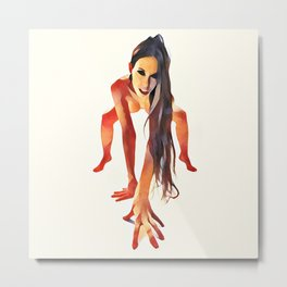 2282s-JAL  Beautiful Nude Avonelle On Her Toes and Fingers Long Hair Hanging Down Metal Print