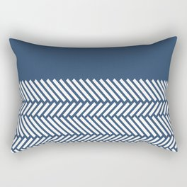 Herringbone Boarder Navy Rectangular Pillow