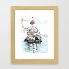 Stabben Lighthouse in Norway Framed Art Print