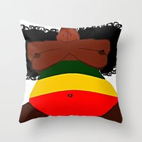 rasta Throw Pillows featuring Rasta Beauty by Courtney Ladybug Johnson