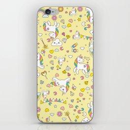 Unicorn Yellow Pattern iPhone Skin