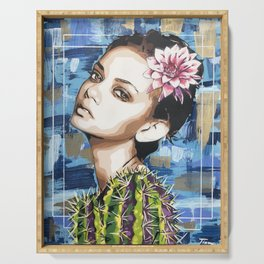 Flower Cactus Girl Serving Tray