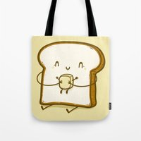 bread Tote Bags featuring Bread & Butter by Robo Rat