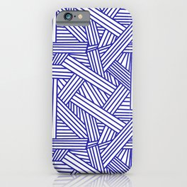 Sketchy Abstract (Navy Blue & White Pattern) iPhone Case