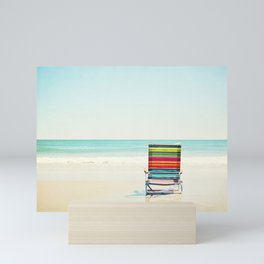 Beach Chair Photography, Colorful Coastal Ocean Landscape Mini Art Print