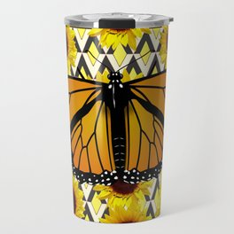COFFEE COLOR SUNFLOWERS & MONARCH BUTTERFLY Travel Mug