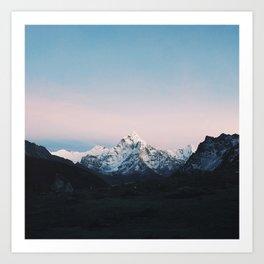 Blue & Pink Himalaya Mountains Art Print